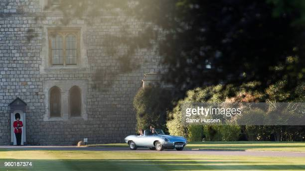 Prince Harrry Duke of Sussex and Meghan Duchess of Sussex depart Windsor Castle following their wedding on May 19 2018 in Windsor England Prince...