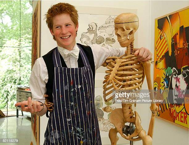 Prince Harry A Keen Artist At Work With A Wooden Skeleton In Eton College Drawing School