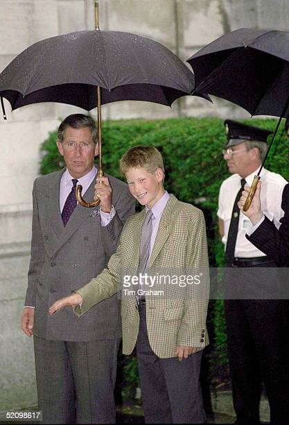 Prince Harry [age 13] Arriving With His Father Prince Charles To Settle In To His New School Eton College In Berkshire Where His Brother Has Been A...