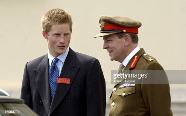 Prince Harry, aged 20, is accompanied by his father HRH The Prince of Wales to Sandhurst Royal Military Academy, where he was met by Commandant Major...