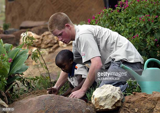 Prince Harry and a young orphan boy plant a peach tree at the Mants'ase Children's Home in Mohale's Hoek 03 March 2004 Prince Harry third in line to...