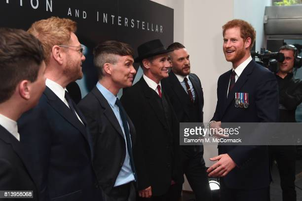 Prince Harry and actors Barry Keoghan Sir Kenneth Branagh Cillian Murphy Mark Rylance and Tom Hardy attend the 'Dunkirk' World Premiere at Odeon...