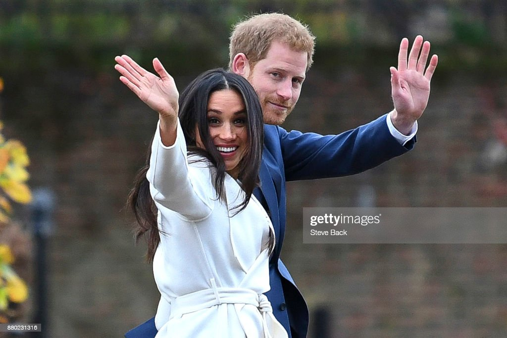 Prince Harry and actress Meghan Markle during an official photocall to announce their engagement : News Photo