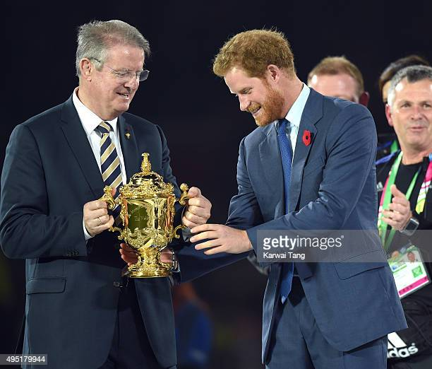 Prince Harry and Bernard Lapasset attend the Rugby World Cup Final match between New Zealand and Australia during the Rugby World Cup 2015 at...