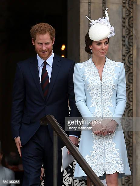 Prince Harry and Catherine, Duchess of Cambridge attend a National Service of Thanksgiving as part of the 90th birthday celebrations for The Queen at...
