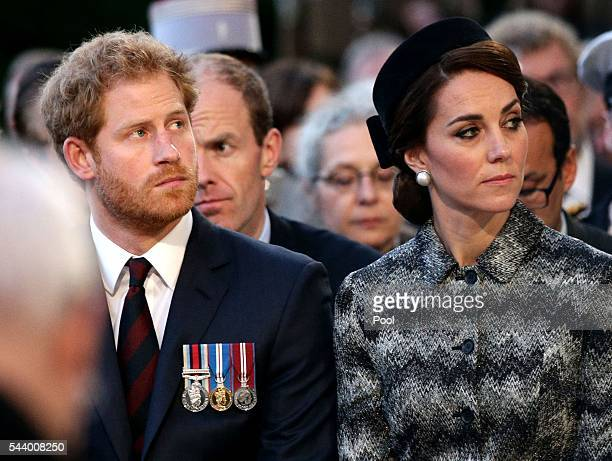 Prince Harry and Catherine Duchess of Cambridge attend part of a militaryled vigil to commemorate the 100th anniversary of the beginning of the...