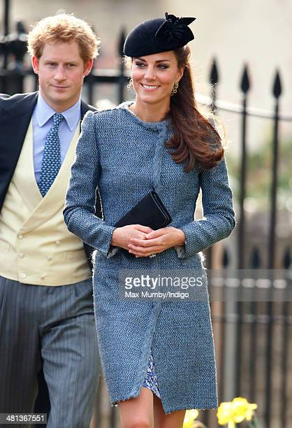 Prince Harry and Catherine Duchess of Cambridge attend the wedding of Lucy Meade and Charlie Budgett at the church of St Mary the Virgin Marshfield...