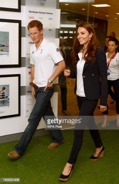 Prince Harry and Catherine Duchess of Cambridge visit athletes at Team GB House in the Westfield Centre on Day 13 of the London 2012 Olympic Games on...