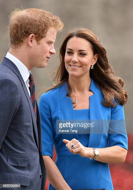 Prince Harry and Catherine, Duchess of Cambridge visits the Tower of London's 'Blood Swept Lands and Seas of Red' poppy installation in the Tower of...