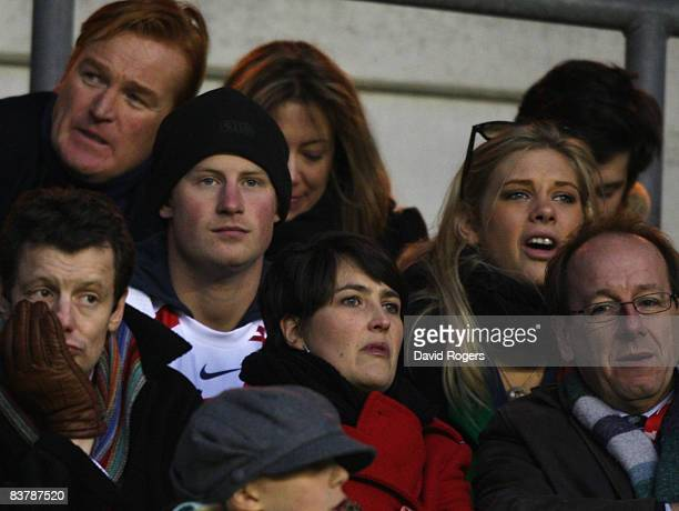 Prince Harry and Chelsy Davy attend the Investec Challenge match between England and South Africa at Twickenham on November 22 2008 in London England