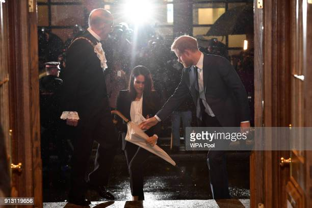 Prince Harry and fiance Meghan Markle arrive to attend the 'Endeavour Fund Awards' Ceremony at Goldsmiths Hall on February 1 2018 in London England...