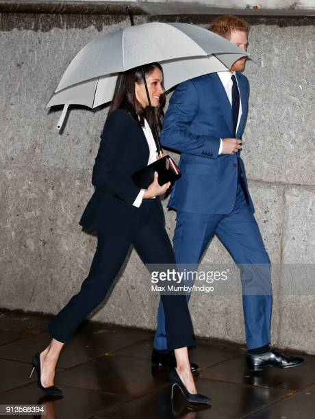 Prince Harry and fiance Meghan Markle attend the 'Endeavour Fund Awards' Ceremony at Goldsmiths' Hall on February 1 2018 in London England The awards...