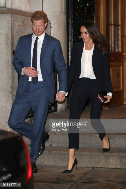 Prince Harry and fiance Meghan Markle leave the 'Endeavour Fund Awards' Ceremony at Goldsmiths Hall on February 1 2018 in London England The awards...