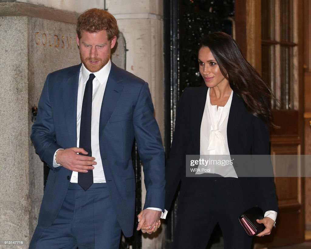 Prince Harry and fiance Meghan Markle leave the 'Endeavour Fund Awards' Ceremony at Goldsmiths Hall on February 1, 2018 in London, England. The awards celebrate the achievements of wounded, injured and sick servicemen and women who have taken part in remarkable sporting and adventure challenges over the last year.