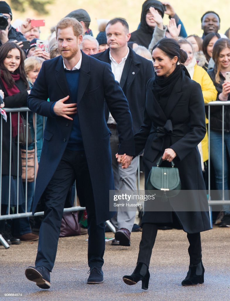 Prince Harry and fiance Meghan Markle visit Cardiff Castle on January 18, 2018 in Cardiff, Wales.