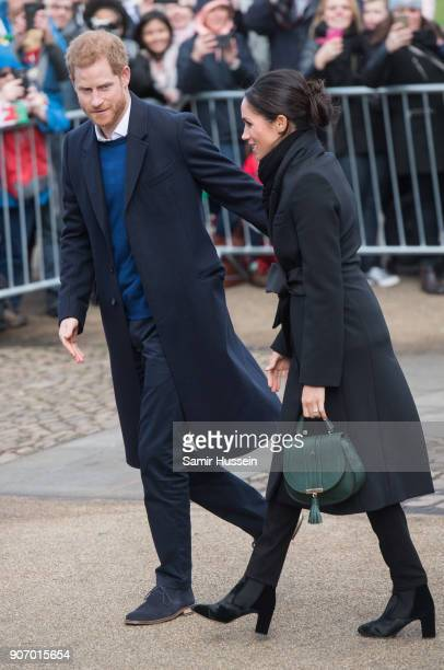 Prince Harry and fiance Meghan Markle visit Cardiff Castle on January 18 2018 in Cardiff Wales