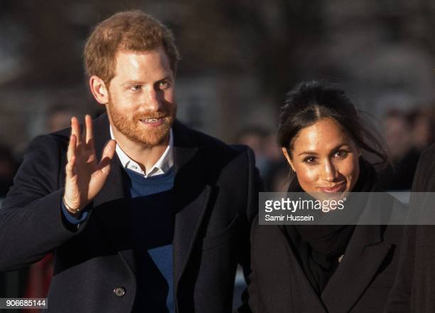 Prince Harry and fiance Meghan Markle visit Star Hub on January 18 2018 in Cardiff Wales