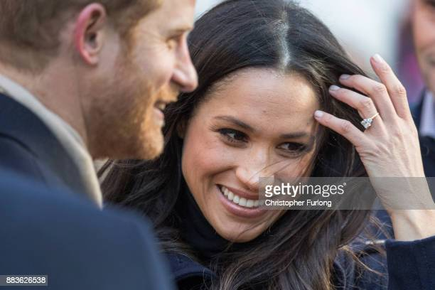 Prince Harry and fiancee Meghan Markle arrive at the Terrance Higgins Trust World AIDS Day charity fair at Nottingham Contemporary on December 1 2017...