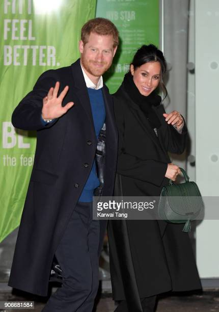 Prince Harry and fiancee Meghan Markle visit Star Hub on January 18 2018 in Cardiff Wales