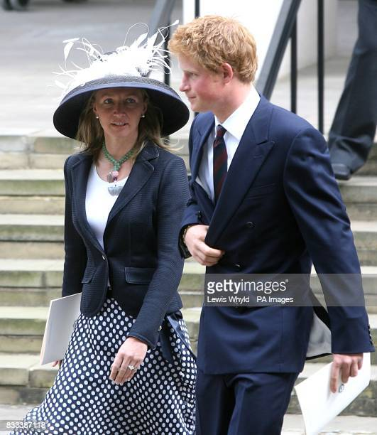 Prince Harry and former royal nanny Tiggy Pettifer leave the Service of Thanksgiving for the life of Diana Princess of Wales at the Guards' Chapel...