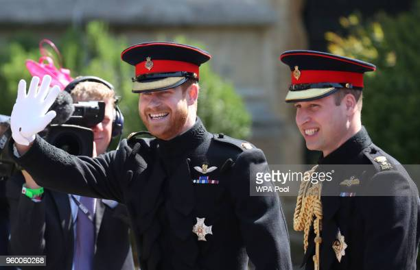Prince Harry and his best man Prince William, Duke of Cambridge arrive at St George's Chapel at Windsor Castle for the wedding of Prince Harry and...