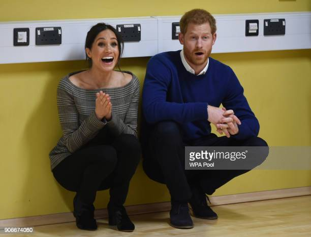 Prince Harry and his fiancee Meghan Markle attend a street dance class during their visit to Star Hub on January 18 2018 in Cardiff Wales