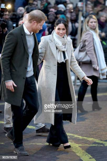 Prince Harry and his fiancee Meghan Markle depart from Reprezent 1073FM on January 9 2018 in London England The Reprezent training programme was...