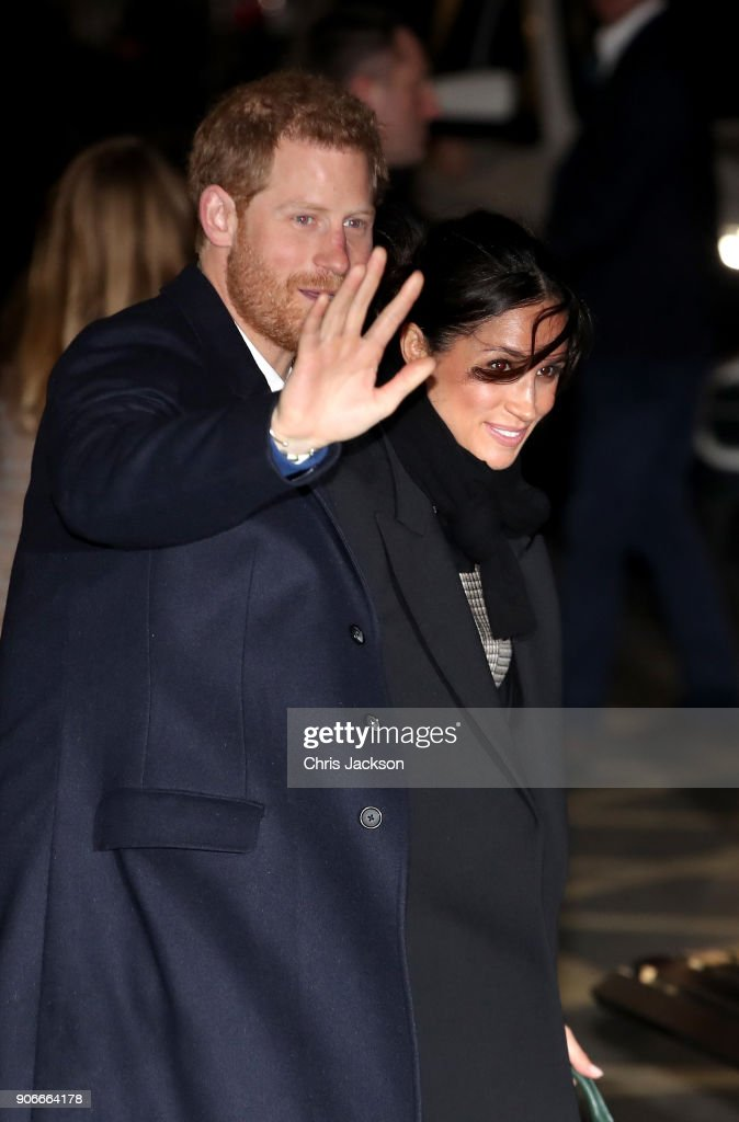 Prince Harry and his fiancee Meghan Markle depart Star Hub on January 18, 2018 in Cardiff, Wales.