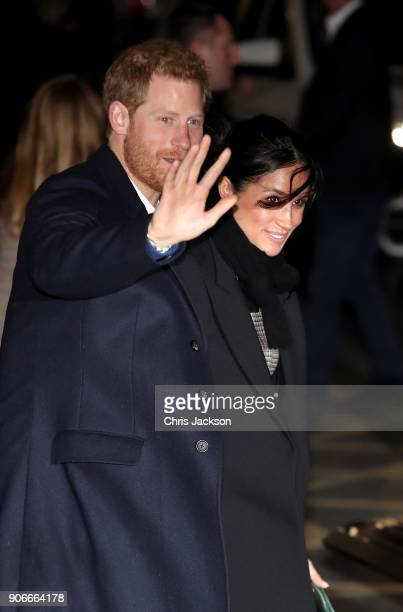 Prince Harry and his fiancee Meghan Markle depart Star Hub on January 18 2018 in Cardiff Wales