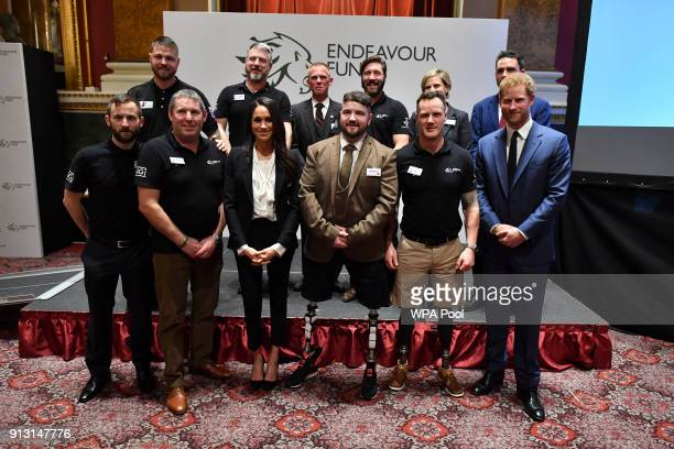 Prince Harry and his fiancee Meghan Markle pose with award winners Ben Lee Sean Gane Daniel Claricoates and the other award nominees during the...