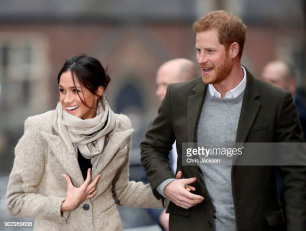 Prince Harry and his fiancee Meghan Markle visit Reprezent 107.3FM on January 9, 2018 in London, England. The Reprezent training programme was...