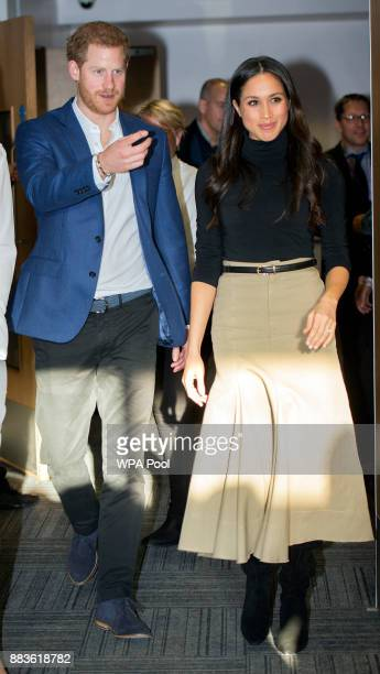 Prince Harry and his fiancee US actress Meghan Markle visit Nottingham Academy on December 1, 2017 in Nottingham, England. Prince Harry and Meghan...