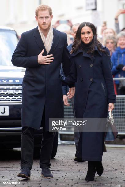 Prince Harry and his fiancee, US actress Meghan Markle, visit Nottingham for their first official public engagement together on December 1, 2017 in...