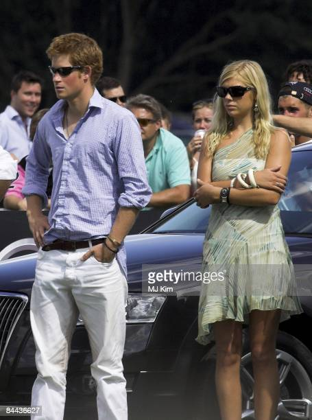 EGHAM UNITED KINGDOM JULY 30 Prince Harry and his girlfriend Chelsy Davy attend the Cartier International Polo match at the Guards Polo Club on July...