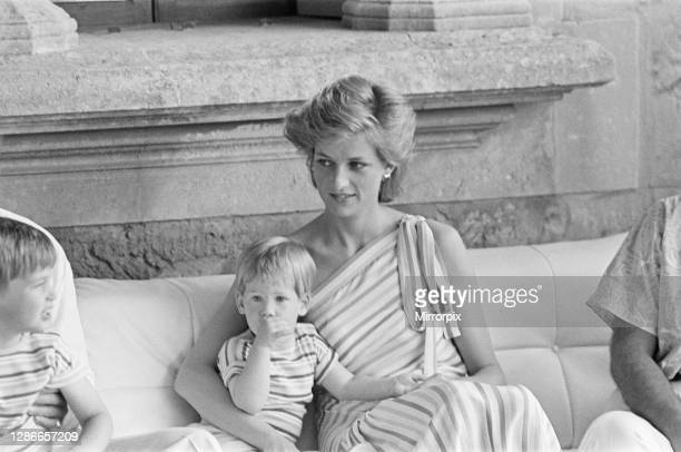 Prince Harry and his mother HRH Princess Diana, the Princess of Wales are on holiday with Prince Charles and Prince William, in Majorca, Spain's...