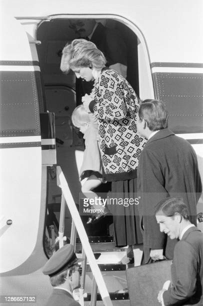 Prince Harry and his mother Princess Diana arrive at Heathrow Airport London Their Queen's Flight Andover From Aberdeen Landed At The End Of The...