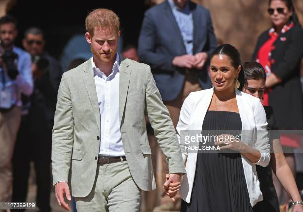 Prince Harry and his wife Meghan, Duke & Duchess of Sussex, visit the Kasbah of the Udayas near the Moroccan capital Rabat on February 25, 2019.