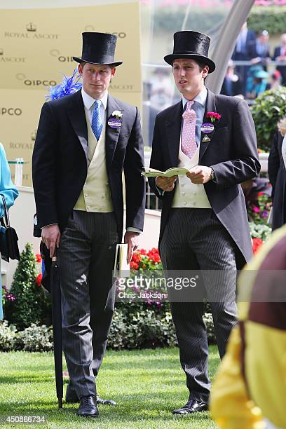 Prince Harry and Jake Warren attend day three of Royal Ascot at Ascot Racecourse on June 19 2014 in Ascot England