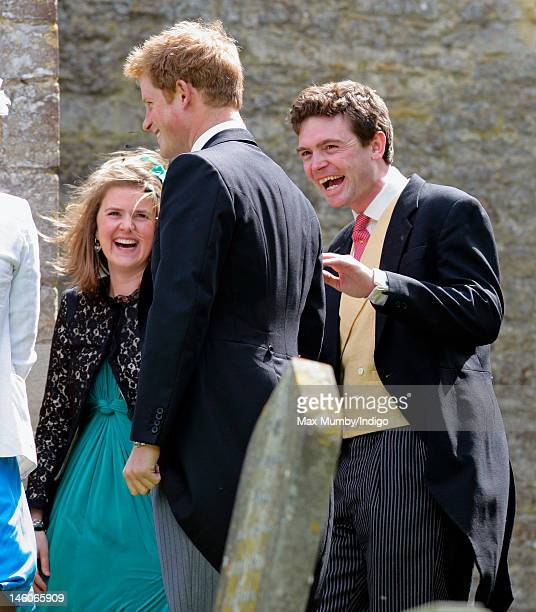 Prince Harry and James Meade attend the wedding of Emily McCorquodale and James Hutt at The Church of St Andrew and St Mary Stoke Rochford on June 9...