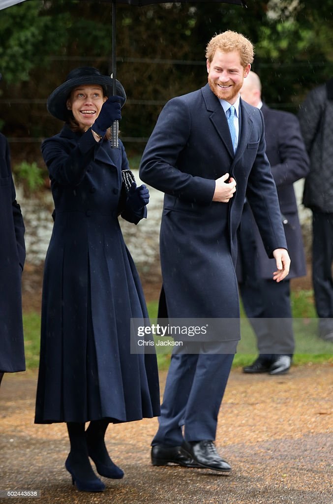 Prince Harry and Lady Sarah Chatto attend a Christmas Day church service at Sandringham on December 25, 2015 in King's Lynn, England.