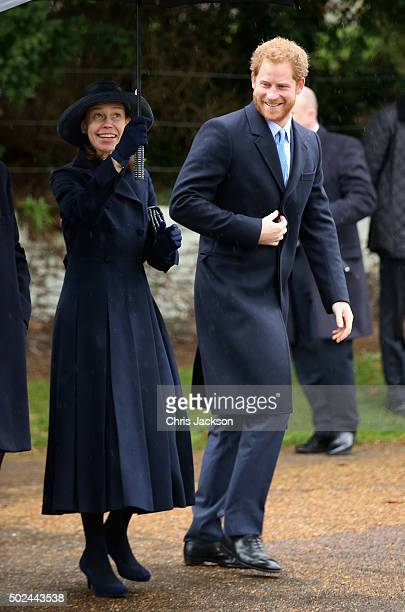 Prince Harry and Lady Sarah Chatto attend a Christmas Day church service at Sandringham on December 25 2015 in King's Lynn England