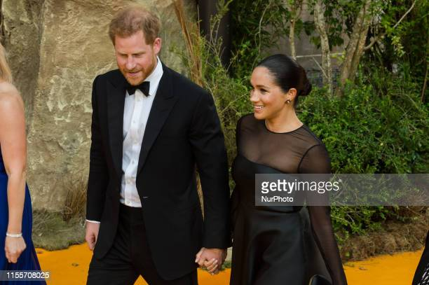Prince Harry and Meghan Duchess of Sussex attend the European film premiere of Disney's 'The Lion King' at Odeon Luxe Leicester Square on 14 July...