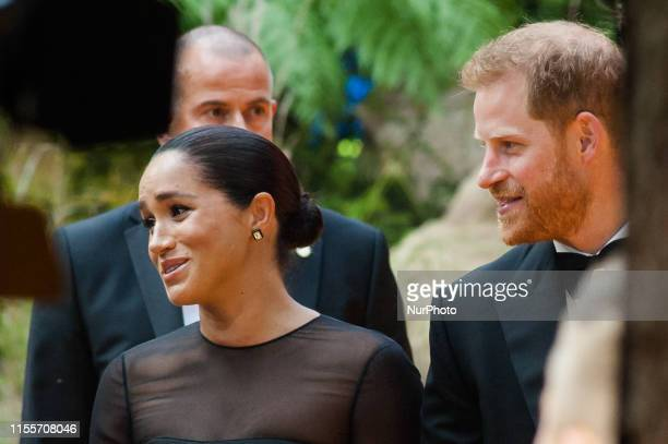 Prince Harry and Meghan, Duchess of Sussex, attend the European film premiere of Disney's 'The Lion King' at Odeon Luxe Leicester Square on 14 July,...