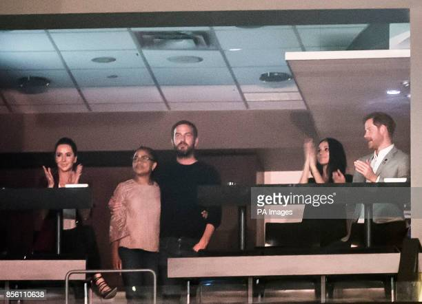Prince Harry and Meghan Markle are pictured with left to right Jessica Mulroney Meghan's mother Doria Ragland and Markus Anderson during the Invictus...
