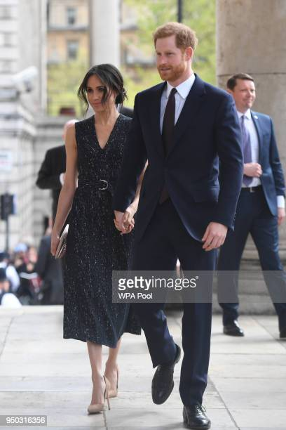 Prince Harry and Meghan Markle arrive at a memorial service at St MartinintheFields in Trafalgar Square to commemorate the 25th anniversary of the...