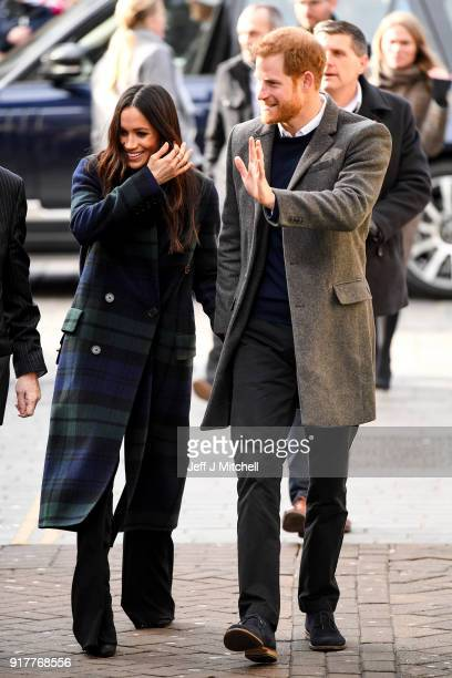 Prince Harry and Meghan Markle arrive at Social Bite cafe in Rose Street on February 13 2018 in Edinburgh Scotland