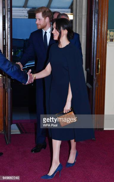 Prince Harry and Meghan Markle arrive at the Royal Albert Hall to attend a starstudded concert to celebrate the Queen's 92nd birthday on April 21...