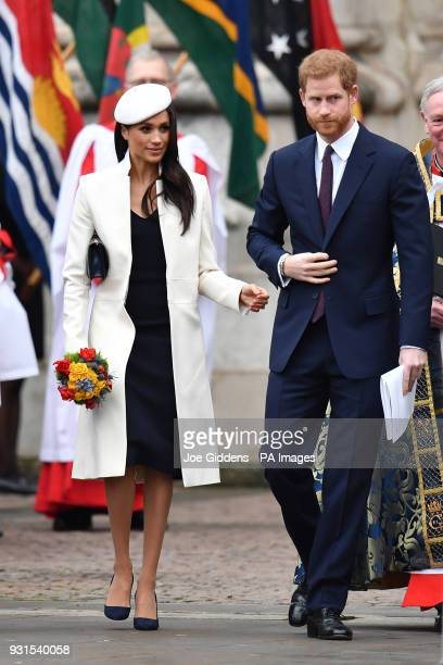 Prince Harry and Meghan Markle arrive for the Commonwealth Service at Westminster Abbey London