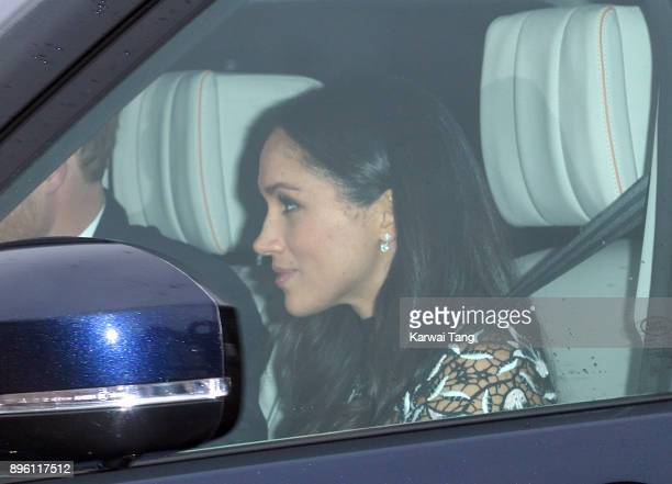 Prince Harry and Meghan Markle arrive for the Queen's Christmas lunch at Buckingham Palace on December 20 2017 in London England