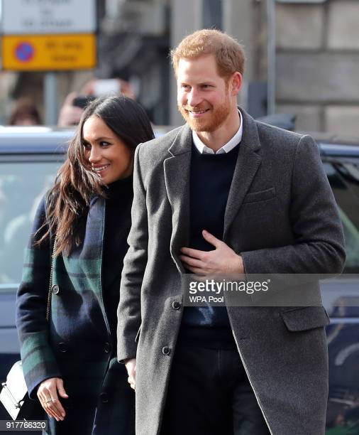 Prince Harry and Meghan Markle arrive for their visit to Social Bite on February 13 2018 in Edinburgh Scotland